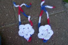 baby barefoot sandals crochet 4th of July by stitchesbystephann