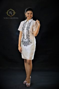 Embroidered Silk Barong Tagalog for her. Barong Tagalog, Filipiniana Dress, Wardrobe Makeover, Embroidered Silk, Homecoming Dresses, Satin, Templates, Trending Outfits, Wallpaper