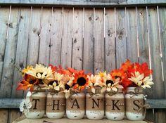 Thanks Mason Jars, Thanksgiving Mason Jars, Thanksgiving Decor, Fall Decor, Fall Decor, Thanksgiving, Fall, Autumn, Holidays  by MidnightOwlCandleCo on Etsy https://www.etsy.com/listing/209047054/thanks-mason-jars-thanksgiving-mason