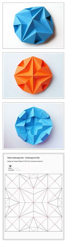 Origami: Stella dodecagonale - Dodecagonal Star. Designed and folded by Francesco Guarnieri, July 2013. Instructions, Crease Pattern: http://guarnieri-origami.blogspot.it/2013/07/stella-dodecagonale.html