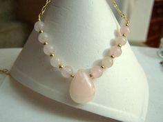 Rose Quartz Pendant Necklace Gold Filled by ExquisiteStudios