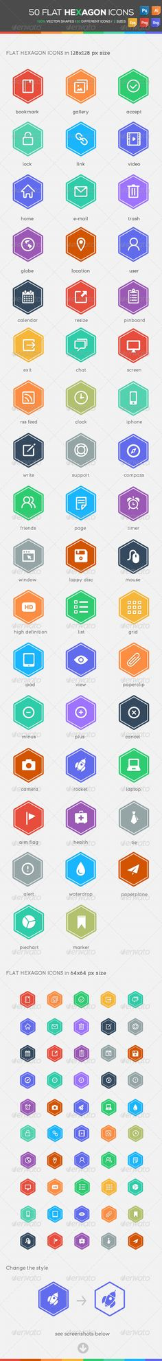 50 Flat Hexagon Icons