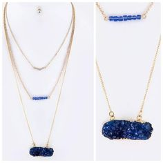"D39 3 Layer Long Blue Druzy Crystal Necklace Set ‼️PRICE FIRM‼️   Druzy Necklace  $64   Beautiful three layer druzy necklace. Shortest layer of the necklace is approximately 18"" including 2.5"" adjuster chain. Longest layer hangs down an additional 5""-6"".  Sure to dress up even the most basic outfit!  Please check my closet for many more items including designer clothing, shoes, handbags, scarves and much more! Boutique Jewelry Necklaces"