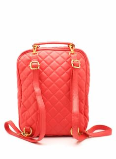 salmon quilted backpack
