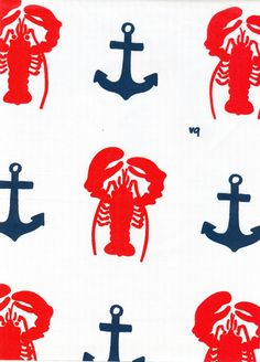 Vintage  Fabric - lobsters & anchors