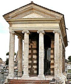 Ancient Roman Temple of Portunus (Tempio di Portuno) in Piazza della Bocca della Verità, Rome (Italy)