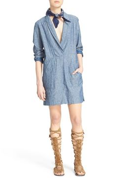 Free People 'Done Up' Linen & Cotton Minidress