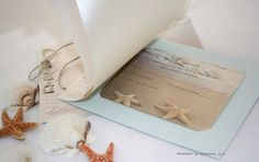 layer card with beach wedding invitation photo rsvp card inserted, invitation is first page, iridescent cover