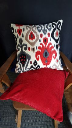 Red Ikat Pillow cover can act as a stand out piece in any room or can be combined with a solid accent cotton velvet accent pillow cover Ikat Pillows, Velvet Pillows, Accent Pillows, Cotton Velvet, Pillow Covers, Trending Outfits, Etsy Seller, Handmade Gifts, Room