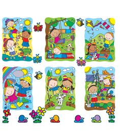 """This fun, season-themed bulletin board set includes:  6 spring and summer scenes (approx. 11.5"""" x 16.5"""" each) 3 flower accents 7 butterfly accents 8 snail accents 8 bee accents A resource guide"""