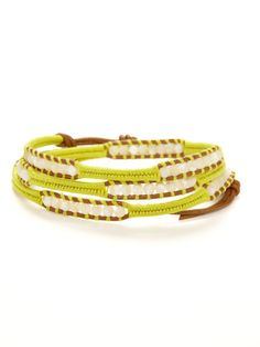Mother Of Pearl & Leather Wrap Bracelet by Chan Luu on Gilt.com