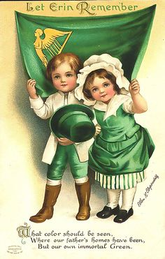 For scrapbooking, altered art, gift tags, framing, cards. Sweet.  Vintage St. Patrick's Day Postcard, via Flickr.