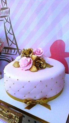 paris party, parisian gold and pink, poodle paris, cake parisian