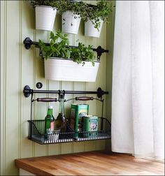 Towel Rack & Pail Buckets = Herbs!