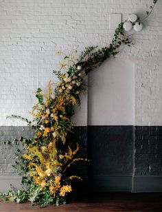 organic floral wall installation