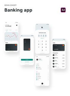 banking app Design Concept: Banking app (Free Adobe XD) on Behance Mobile Ui Design, App Ui Design, User Interface Design, Web Design, Free Banking, Online Wallet, App Design Inspiration, Design Ideas, Mobile App Ui