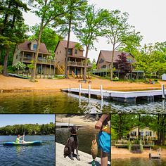 This beautiful resort in Harrison, MI, offers a variety of cabin options, with a private beach and boat docks. #bookdirect for the best rates! #michiganresort #lakefront #itscabintime