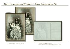 Greeting Card, Postcard, Native American Woman and Child, Printable Digital Sheets, for download and unlimited printing.   Not only for Mothers Day!!  Purchase - Download - Print! Native American Women, Design Studio, Grafik Design, Paper Design, Nativity, Stationary, Mothers, Card Making, Greeting Cards