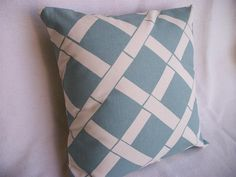 Blue Bamboo Pillow Cover 18 x 18 Village Blue by WoodnDoodads, $11.00