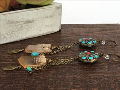 Antiqued Tribal Statement Earrings - Alluring Quartz Earrings - Handmade Bohemian Earrings - Festival - Feather - Turquoise