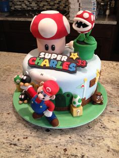 Super Mario cake (cool idea for Sawyer's name on his (gasp!) store bought cake).