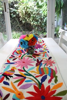 Gorgeous Multi colored Otomi Runner by CasaOtomi on Mexico, Tenango, mexican wedding, textile, mexican suzani, suzani, embroidery, hand embroidered, otomi, www.casaotomi.com, otomi, table runner, fiber art, mexican, handmade, original, authetic, textile , mexico casa, mexican decor, mexican interior, frida, kahlo, mexican folk, folk art, mexican house, mexican home, puebla collection, las flores, travel tote, boho, tote, handbag, purse, cushion, pillow, gift basket