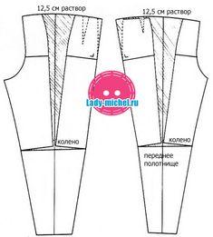 Шьем брюки-бананы – выкройка - Шьем для женщин - Выкройки для женщин и мужчин - Каталог статей - Выкройки для детей, детская мода Shift Dress Pattern, Bodice Pattern, Pants Pattern, Pattern Cutting, Pattern Making, Sewing Clothes Women, Clothes For Women, Sewing Hacks, Sewing Projects