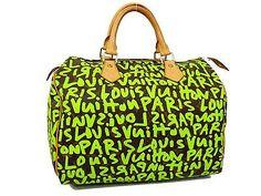 100% Auth LOUIS VUITTON MONOGRAM GRAFFITI SPEEDY 30 BOSTON HAND BAG GREEN N711