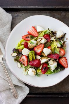 Strawberry Caprese Salad | The Bojon Gourmet  The Balsamic reduction is terrific, so delicious.
