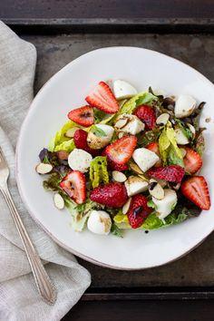 Strawberry Caprese Salad | The Bojon Gourmet  The Balsamic reduction is terrific, so delicious.