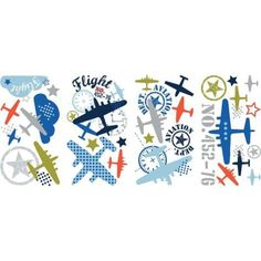 $12.82, RoomMates 5 in. x 11.5 in. Zutano Aviation 21-Piece Peel and Stick Wall Decal