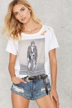Kurt Cobain Distressed Tee - Tops