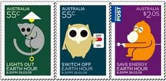 Australian stamps promoting Earth Hour, 11 March 2009