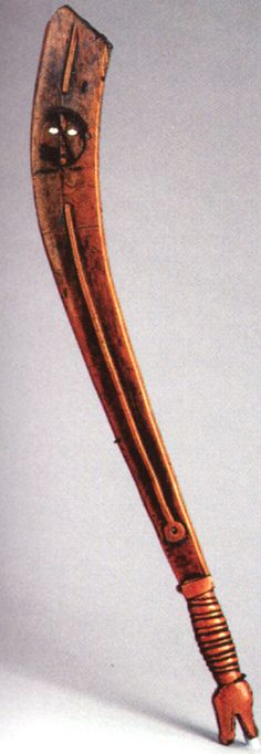 Profile view of Iroquois war club from King Philip's War.