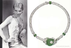 Actress Clare Luce wears Mauboussin Jewelry left. Her Art Deco emerald  and diamond necklace right