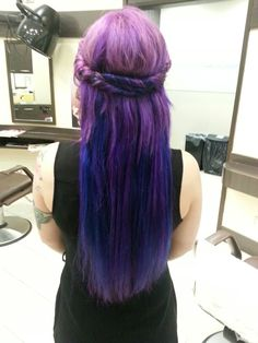 Purple and blue hair extensions Blue Hair Extensions, Cool Hairstyles, Fancy, Long Hair Styles, Purple, Beauty, Fancy Hairstyles, Swag Hairstyles, Long Hair Hairdos