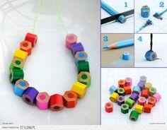 kleurpotloden, gebruik kapotte potloden of koop hele voordelige en gebruik ze voor ketting, maar je kunt ze ook op andere wijze toepassen