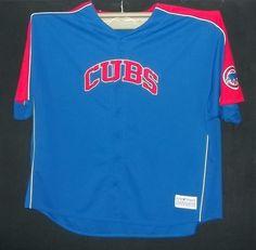 CHICAGO CUBS Button Front Genuine Jersey Sz 7XL 7X  XXXXXXXL BLUE Sewn #GenuineMerchandise #ChicagoCubs