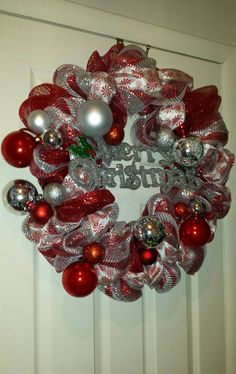 Red white and silver merry Christmas deco mesh wreath