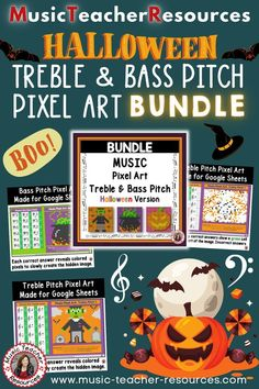 Halloween music games for kids - review TREBLE and BASS Notes with fun and engaging Halloween Music Mystery Pixel Art activities -perfect for your Halloween music games for kids during your music class. #MusicTeacherResources #mtrGames #mtrPuzzles #mtrHalloween #mtrBundles