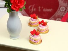 French Valentine's Heart-shaped Sablé Chantilly Fraise - Strawberry Chantilly - 12th Scale Miniature Food. $18.00, via Etsy.
