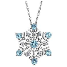 Reeds Sterling Silver Swiss Blue Topaz And White Sapphire Snowflake... (115 AUD) ❤ liked on Polyvore featuring jewelry, necklaces, accessories, christmas, colares, swiss blue topaz necklace, white sapphire jewelry, white jewelry, white necklace and sterling silver jewelry