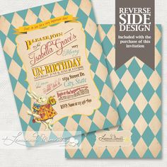 Alice in Wonderland Invitation / Mad Hatter Tea Party - Printable Birthday or Wedding /  Baby Shower - Teal. $20.00, via Etsy.