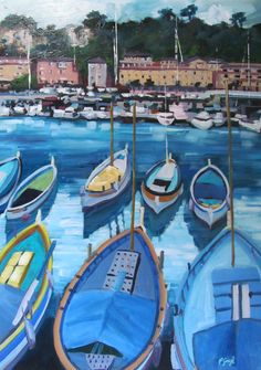 Pauline Gough: Mixed Media Art.  www.artfind/paulinegough  www.mangawhaiartists.co.nz  © Pauline Gough. This image may not be reproduced or copied in whole or part without prior consent of the owner. All rights reserved.  Yachts Gathering - Collage & Mixed Media (SOLD)  Blue Boats (Commission) Acrylic on Board