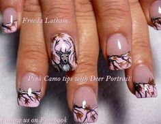 Pink Camo tips with Deer Portrait - Nail Art Gallery camo nails prom homecoming wedding Pink Camo Nails, Camo Nail Art, Camouflage Nails, Purple Camo, White Camo, Love Nails, Pretty Nails, Fun Nails, Fingernail Designs