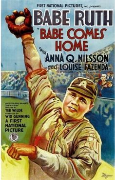 """Babe Comes Home is a 1927 silent film produced and distributed through First National and directed by Ted Wilde. The film is a baseball styled sports movie centering on Babe Ruth and Anna Q. Nilsson.  Find this and more at Michaels Vintage Décor.  Poster measures 18 x 24"""". $15.25 with Free Shipping at Michaels Vintage Décor."""