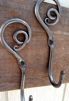 Pair of Blacksmith Hand Forged Spiral by TheMillandAnvil on Etsy, $50.00