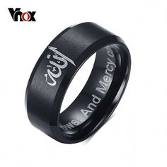 LINSOIR 2017 Fashion Black Muslim Allah Ring for Men Stainless Steel Muslim Ring Men Religion Male Jewelry anello uomo Mens Stainless Steel Rings, Stainless Steel Polish, Top Fashion, Fashion Black, Fashion Men, Style Fashion, Fashion Bracelets, Fashion Jewelry, Fashion Accessories