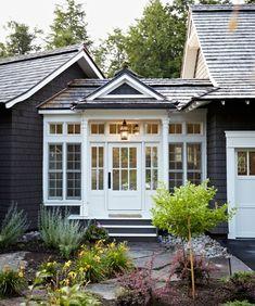 Windover–Muskoka Living Cottage House Designs, Cottage House Plans, Cottage Homes, Cottage Ideas, Bungalow Homes, Farmhouse Addition, Garage Door Design, Garage Doors, Cottage Exterior