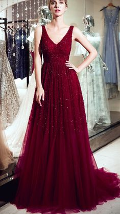 V Neck Dark Red Beaded A-line Evening Prom Dresses, Evening Party Prom – LoverBridal Prom Dresses Online, Prom Party Dresses, Cheap Prom Dresses, Dresses For Teens, Evening Dresses, Short Dresses, Bridesmaid Dresses, Dresses For Work, Summer Dresses